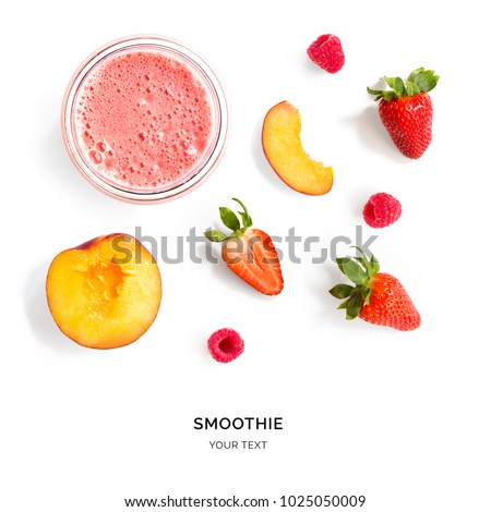 Creative layout made of strawberry and peach smoothie. Flat lay. Food concept. Smoothie on the white background. #1025050009