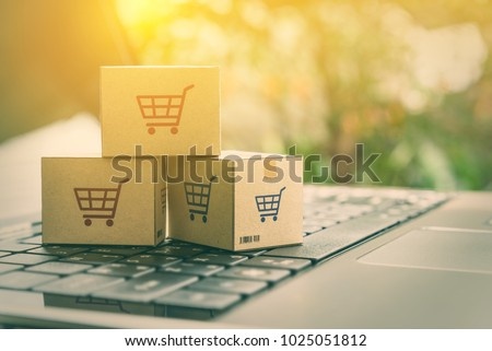 Online shopping / ecommerce and delivery service concept : Paper cartons with a shopping cart or trolley logo on a laptop keyboard, depicts customers order things from retailer sites via the internet. #1025051812