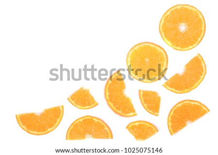 Slices of orange or tangerine isolated on white background with copy space for your text. Flat lay, top view #1025075146
