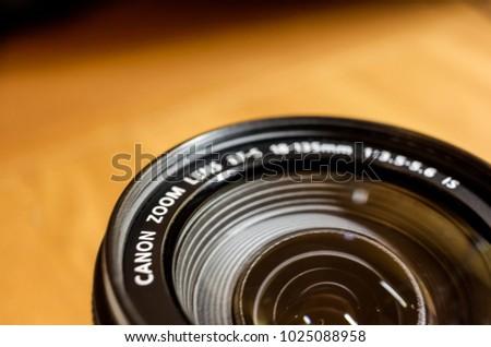 Ulyanovsk, Russia - Feb 15, 2018 - Canon EF lens. Popular Canon lens closeup. #1025088958