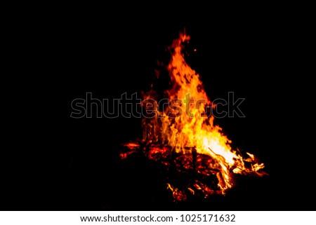 Bonfire blur silhouette Black background light. at phuket Thailand #1025171632