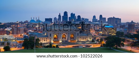 Kansas City skyline panorama. Panoramic image of the Kansas City downtown district at sunrise.