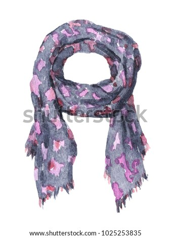 Fashionable casual accessory. Gray textile scarf with pink pattern. Watercolor garment, isolated on white background. #1025253835