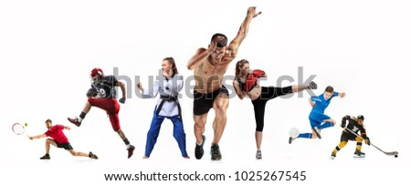 Sport collage about boxing, soccer, american football, ice hockey, jogging, taekwondo, tennis. The fit men and women. Caucasian active athletes isolated on white background #1025267545