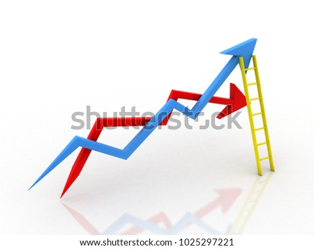 3d illustration inflation and deflation graph with ladder #1025297221