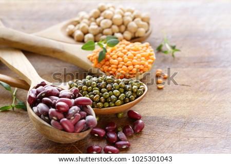 various kinds of legumes - beans, lentils, chickpeas, mung beans #1025301043