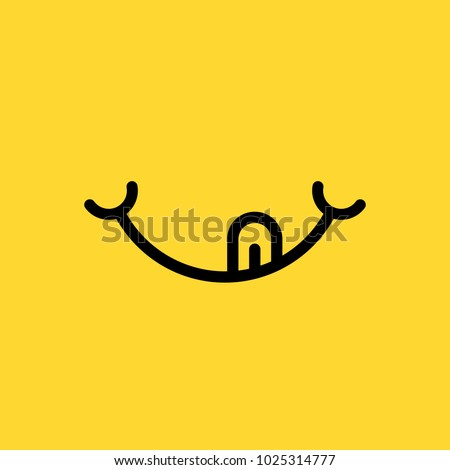 hungry or eating emoji face. flat cartoon simple style minimal logo graphic design isolated on yellow background. concept of delicious and good yummy food or yum-yum smile with tongue or glutton