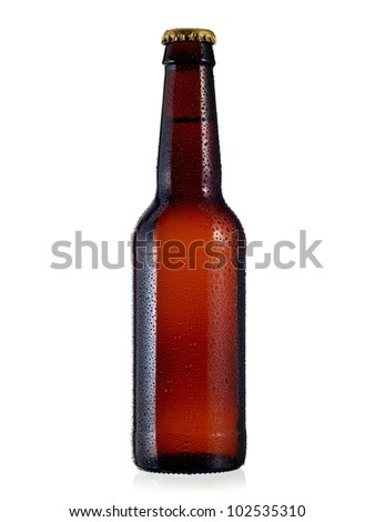 Beer bottle with drops Royalty-Free Stock Photo #102535310
