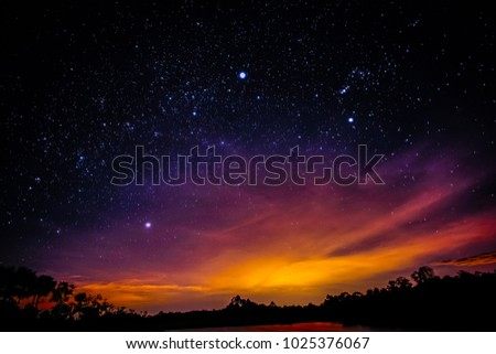Galaxy with stars and space dust in night sky background with stars and space dust in the universe. Landscape with gradient star among the galaxy. #1025376067