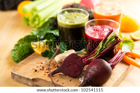 Various Freshly Squeezed Vegetable Juices for Fasting #102541115