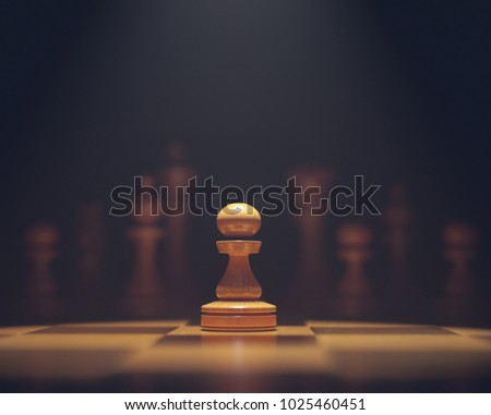 3D illustration. The pawn in highlight. Pieces of chess game, image with shallow depth of field. #1025460451