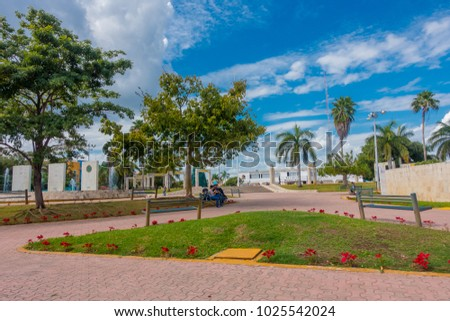 Playa del Carmen, Mexico - January 10, 2018: Outdoor view of unidentified people in the park of playa del Carmen, Mexico #1025542024