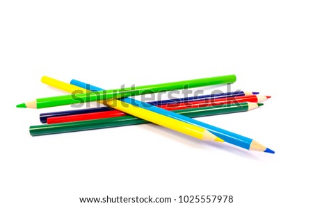 Colored pencils isolated on white background. Back to School. Stationery. Drawing #1025557978