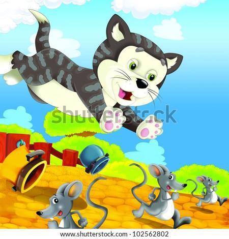 the farm - cat - dog fun chase