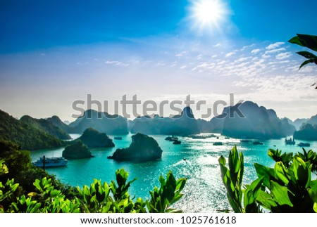 View on karst landscape by halong bay in Vietnam Royalty-Free Stock Photo #1025761618