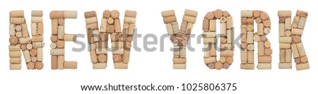 Wine region of USA New York made of wine corks Isolated on white background