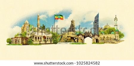 ADDIS ABABA city colored watercolor painting illustration #1025824582
