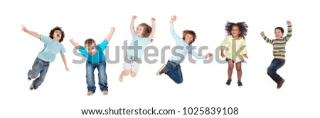 Childrens jumping toguether isolated on a white background #1025839108