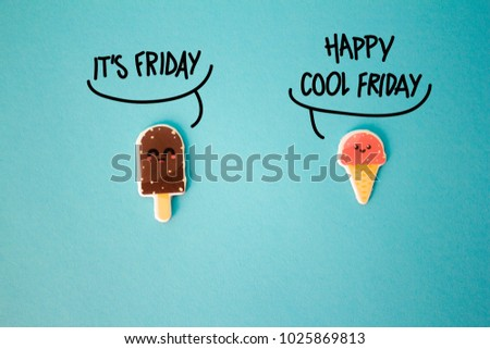 Cute couple of ice cream talking on Friday on blue background