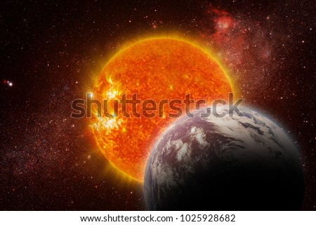 Solar Eclipse - Elements of this Image Furnished by NASA