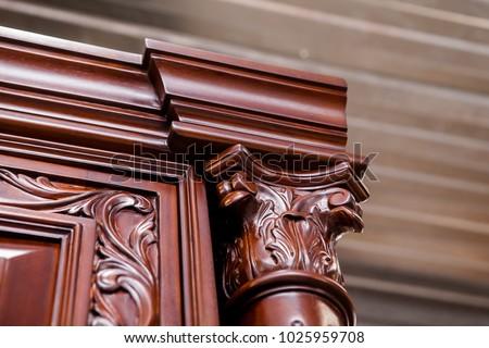 Luxurious classic handmade furniture.  Wood carving, handmade. #1025959708