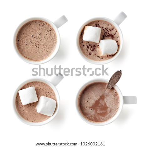Cocoa drinks with marshmallows in white mug isolated on white background, top view