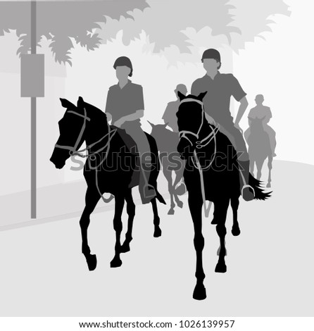 Police with horse  Police with horse is a vector illustration. #1026139957