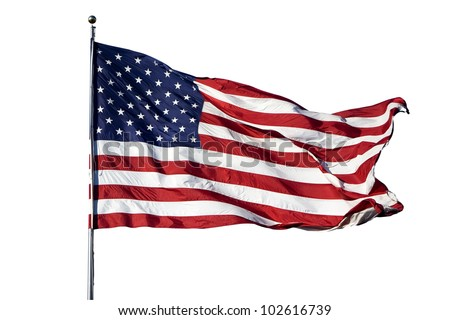 """Large U.S. Flag """"Old Glory"""" blowing in a strong wind on a cloudless day - isolated on white background"""