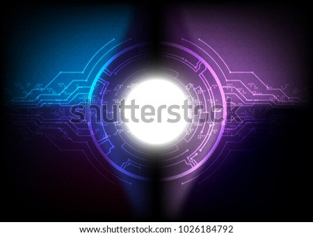 Circuit line with solar flare and pixel, Technology abstract and communication concept, Vector illustration. #1026184792