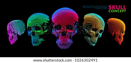 Art concept of a skull. Vector drawn by color lines. Minimal cover design. Creative line-art. Vector template brochures, flyers, presentations, logo, print, leaflet, banners.