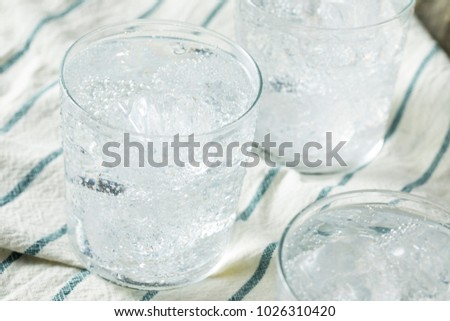 Fresh Spring Sparkling Water with Ice in a Glass #1026310420