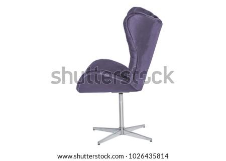 armchair. Modern designer chair on white background. Texture chair. #1026435814