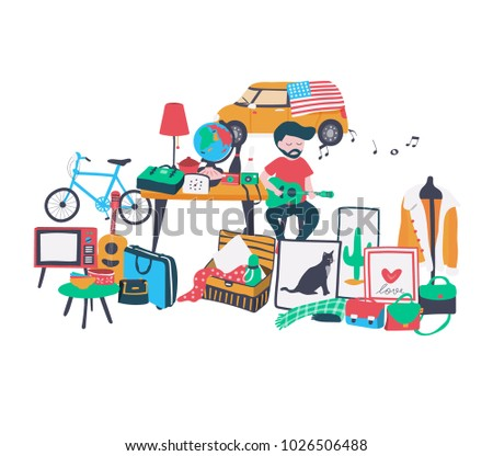 The second hand shop doodle at the flea market , selling all old things like bag, clothes, shoe, bike, and stuffs, all on white background, illustration, vector
