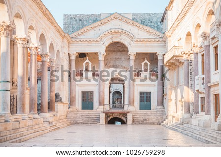 Beautiful palace built for the Roman Emperor Diocletian - Split city, Croatia Royalty-Free Stock Photo #1026759298
