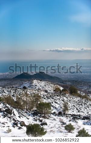 panorama of catania bay from the volcano etna #1026852922