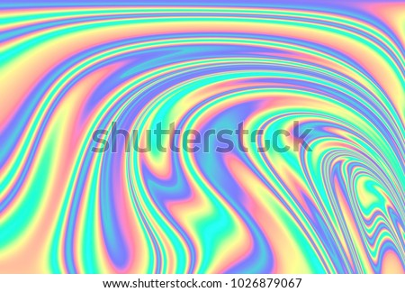 Holographic  background with rainbow iridescent strains. Illustration of color interference.