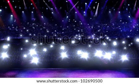 camera flash in concert with spotlight