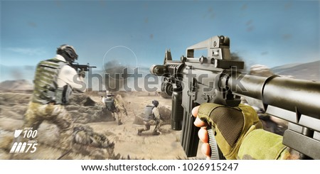 Desert battlefield first person vr rifle view with soldiers and explosions. #1026915247