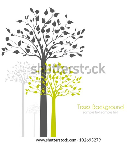 trees with leaves on white background