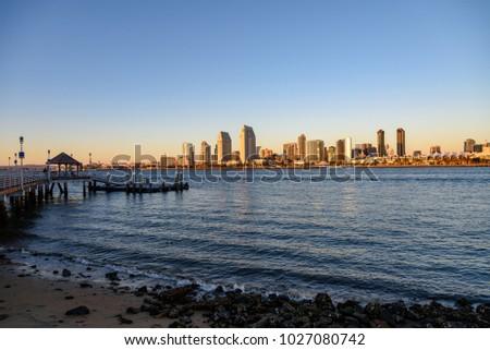 San Diego Skyline with the Coronado Ferry Landing Pier at Magic Hour #1027080742