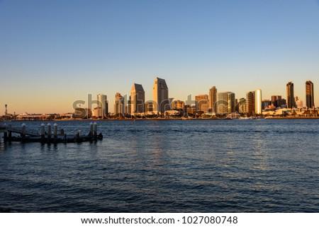San Diego Skyline with the Coronado Ferry Landing Pier at Magic Hour #1027080748