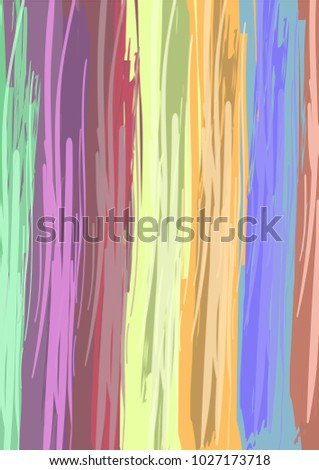 Seamless vector summer pattern. Abstract rainbow colorful lines vector art background with bright stripes in orange, blue, yellow, brown, pink, green, red. Watercolor lines overlapping modern. #1027173718