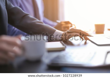 Men working at table in office, closeup. Financial trading concept #1027228939