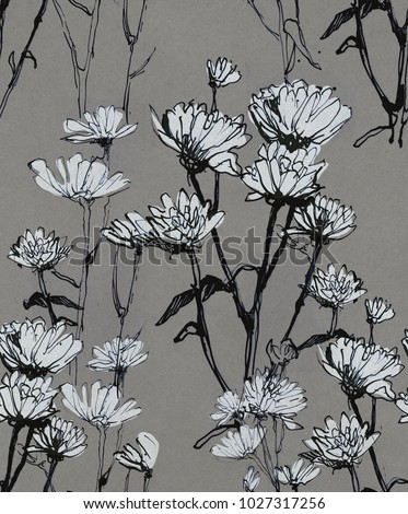 Chrysanthemum Grey Seamless pattern grey hand draw illustration