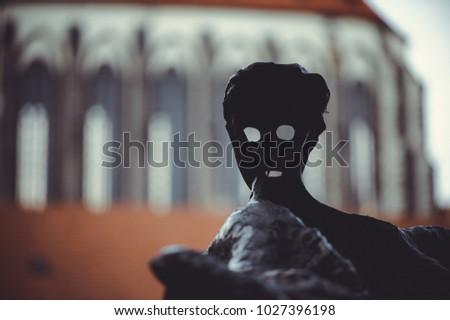 PRAGUE, CZECH REPUBLIC - JUNE 2016: historical statues on the streets of Prague #1027396198