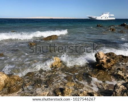 red sea, on the beach sand summer vacation, stony beach, Egypt #1027546267