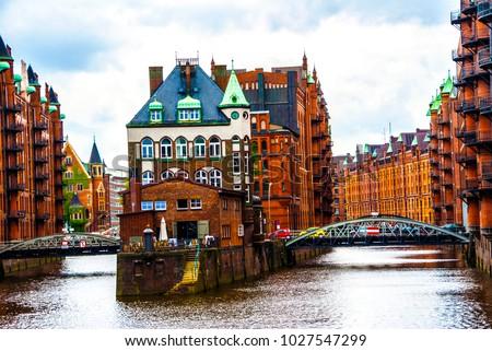 Water Castle in Hamburg's Hafen City  #1027547299