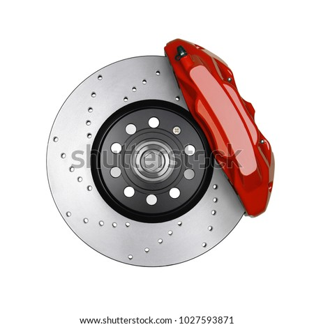 Car brake disc and red caliper isolated on white  Royalty-Free Stock Photo #1027593871