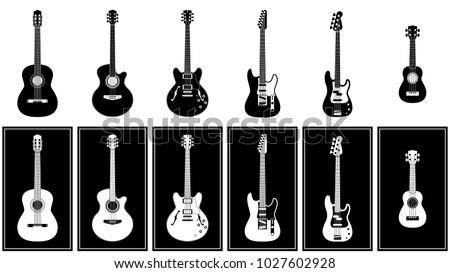 various guitars set vector illustration