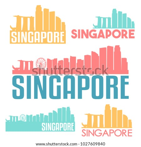 Singapore City Asia Flat Icon Skyline Vector Silhouette Design Set